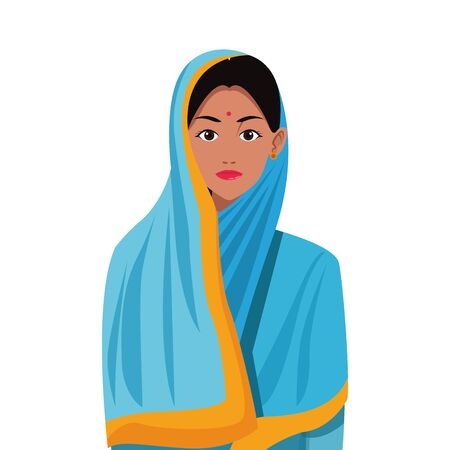 indian asian religion oriental culture, young woman cartoon vector illustration graphic design Banque d'images - 135519424