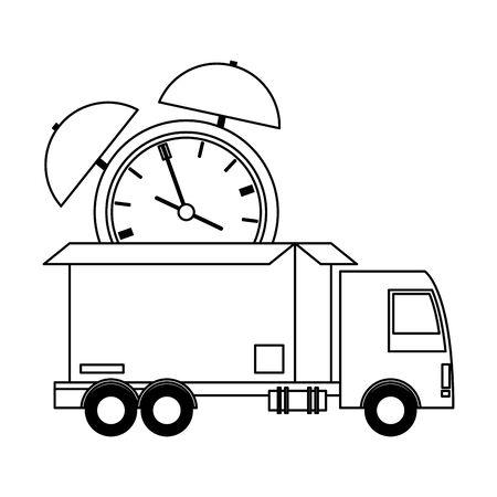Envío logístico y de entrega con camión que transporta mercancía diseño gráfico de ilustración de vector de dibujos animados oportuno Ilustración de vector