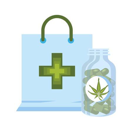 cannabis martihuana medical marijuana medicine sativa hemp pills bottle cartoon vector illustration graphic design Illustration