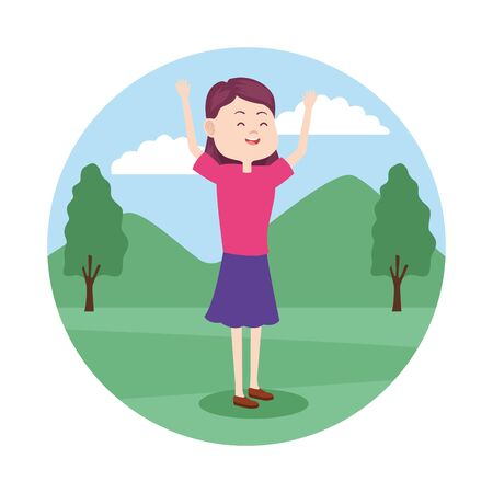 Young girl teenager in the park scenery cartoon vector illustration graphic design. Ilustracja