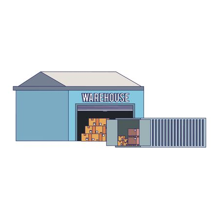 Warehouse storage with container and boxes vector illustration Vecteurs