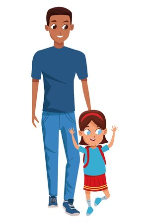 Family single father with kid holding school backpack isolated vector illustration graphic design Ilustracja