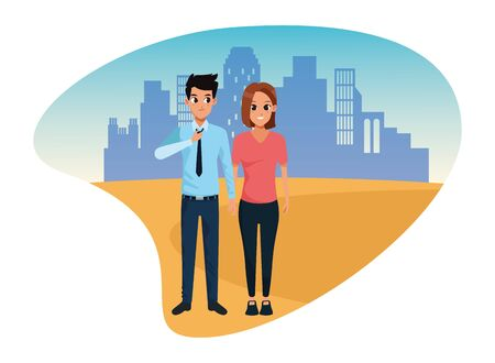 Young executive man and woman couple smiling and greeting cartoon in the city urban scenery vector illustration graphic design. Ilustracja