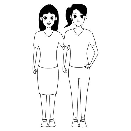YOUNG women friends smiling with casual clothes cartoon vector illustration graphic design Ilustracja