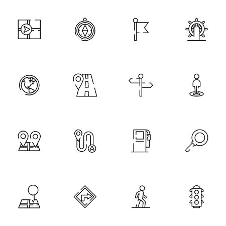 bundle of maps and navigation icons vector illustration design Ilustrace