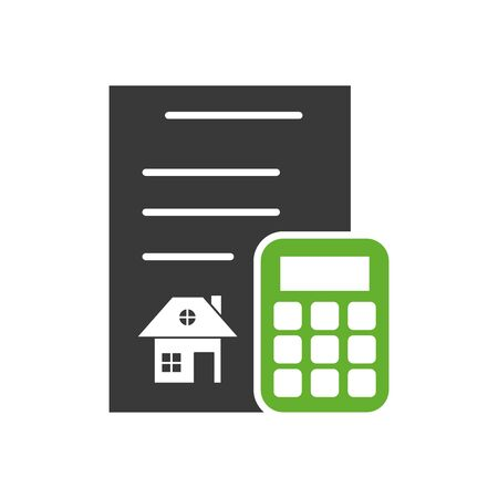 contract rent paper document with calculator vector illustration design