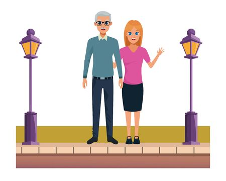 Family father with adult daughter smiling cartoon on the street urban scenery ,vector illustration graphic design.