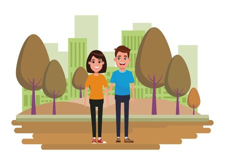 couple avatar brunette man smiling and woman with short hair profile picture cartoon character portrait outdoor colorful