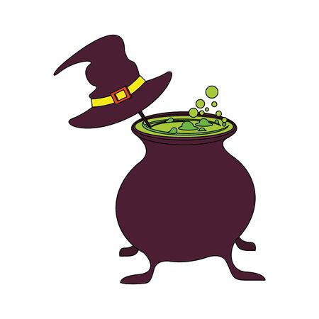 halloween october scary celebration, witch hat with cooking pot cartoon vector illustration graphic design