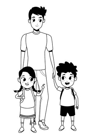 Family single father with kids holding school backpack vector illustration graphic design Ilustracja