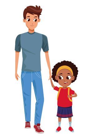 Family single father with afro daughter cartoon isolated vector illustration graphic design