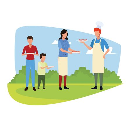 avatar people and boy in a eating standing outdoor over white background, vector illustration