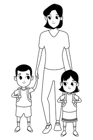 Family single mother with daugther holding school backpack vector illustration graphic design Ilustracja