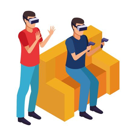 virtual reality technology, young men friends living a modern digital experience with headset glassesand joysticks cartoon vector illustration graphic design Ilustracja