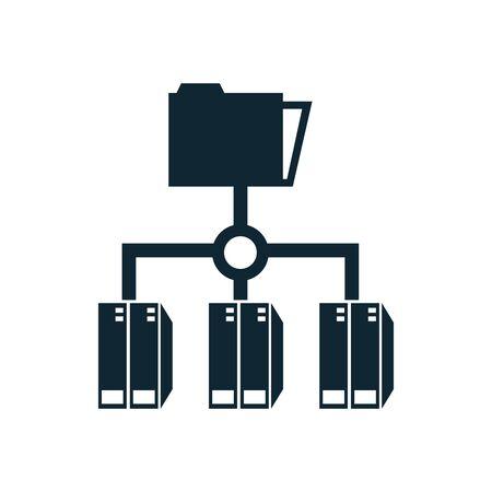 folders files documents network icons vector illustration design