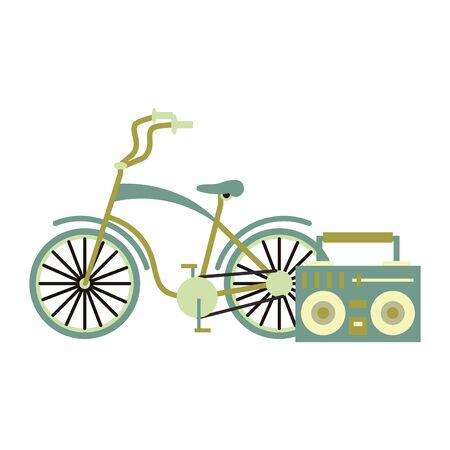 tourism vintage bicycle and stereo isolated symbol Vector design illustration