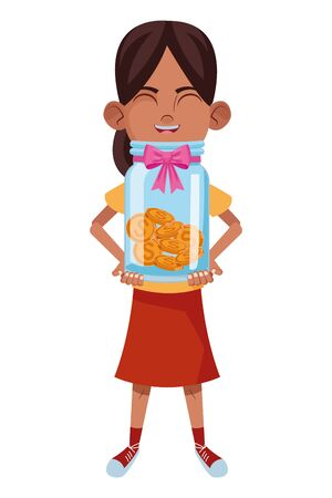 little kid girl carrying glass jar with coins avatar cartoon character portrait isolated vector illustration graphic design