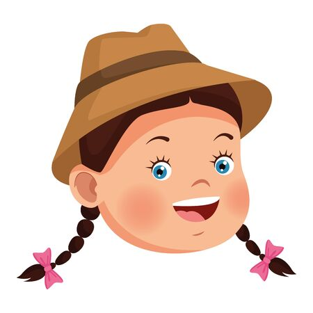 Beautiful little girl smiling with summer hat and tied hair face ,vector illustration .graphic design.