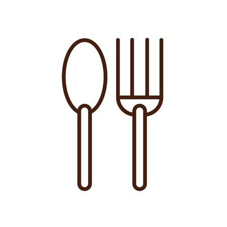 fork and spoon wooden cutleries icon vector illustration design Illusztráció