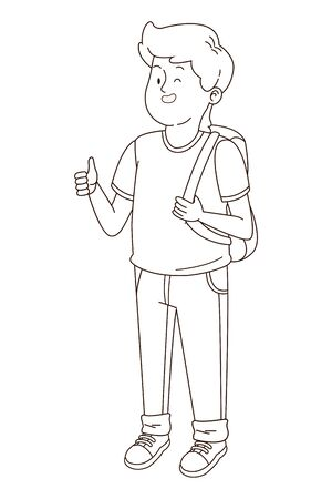 Teenager man with backpack smiling and greeting cartoon vector illustration graphic design