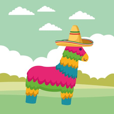 mexican traditional culture with horse pinata and mexican hat icon cartoon over the grass with shruberry and clouds vector illustration graphic design Illustration