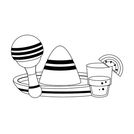 mexico culture and foods cartoons glass lemon cut on the edge and mariachi hat the rattle vector illustration graphic design