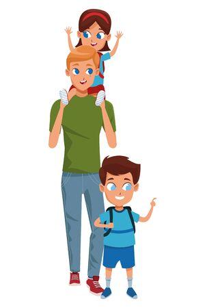 Alleinerziehender Vater der Familie mit Kind, das Schulrucksack hält, lokalisierte Vektorillustrationsgrafikdesign Vektorgrafik