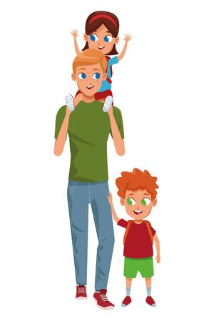 Family single father with kids holding school backpack isolated vector illustration graphic design Ilustracja
