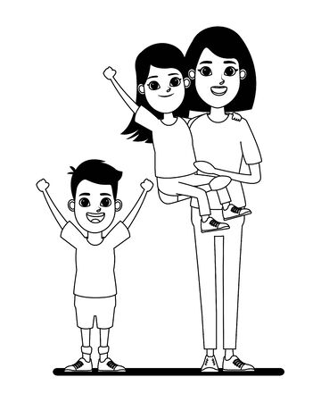 family avatar mother with short hair carrying a young girl next to a child profile picture cartoon character portrait