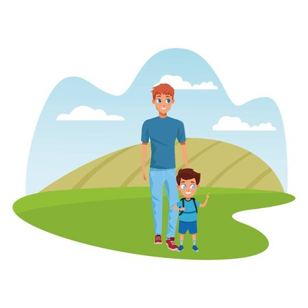 Family single father with kid holding school backpack in the nature park scenery ,vector illustration.