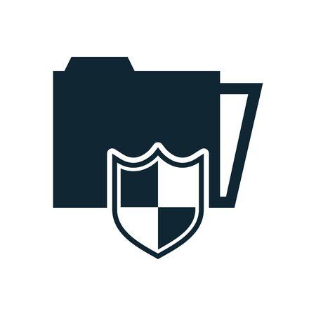 folder file document with security shield vector illustration design
