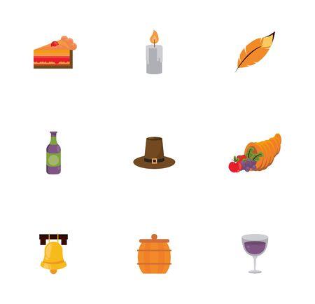 bundle of thanksgiving set icons vector illustration design Иллюстрация