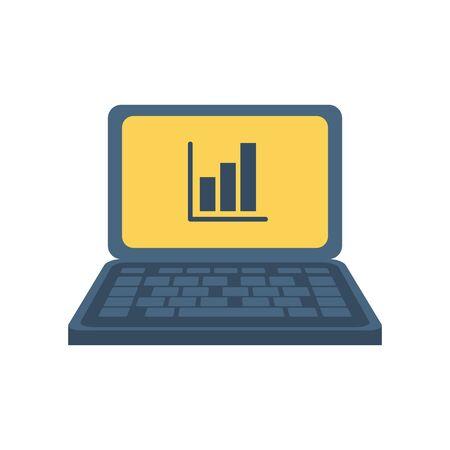 laptop computer with statistics bars vector illustration design