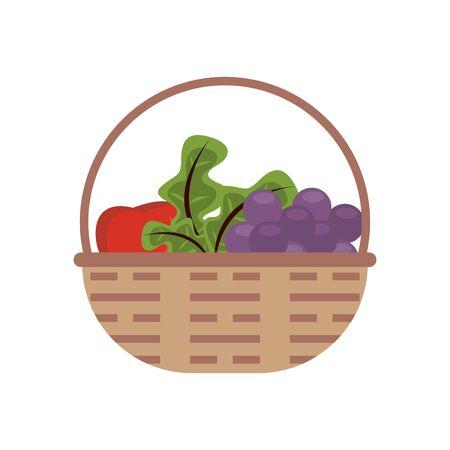 basket with fresh fruits icons vector illustration design
