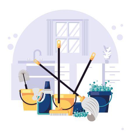 house with housekeeping equipment scene vector illustration design Vettoriali