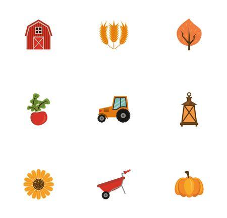 bundle of thanksgiving set icons vector illustration design