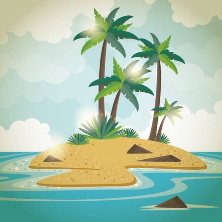 Summer island with palms trees and sea brightly scenery cartoons vector illustration
