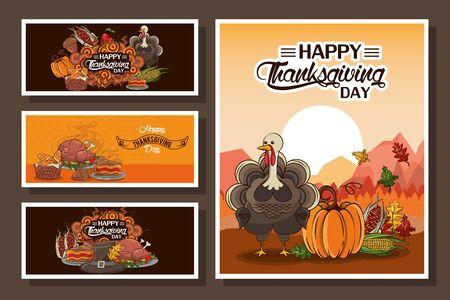 happy thanksgiving day bundle of cards vector illustration design  イラスト・ベクター素材