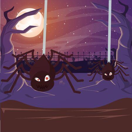 halloween dark scene with spider insect vector illustration design