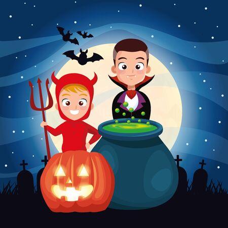 halloween dark scene with kids disguised and cauldron vector illustration design