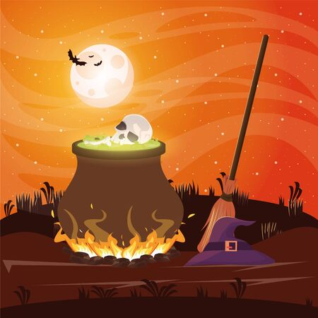 halloween dark scene with witch cauldron vector illustration design