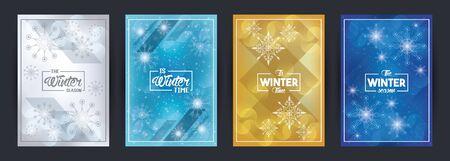 Cartel de invierno con copos de nieve y diseño de ilustraciones vectoriales de escena forestal