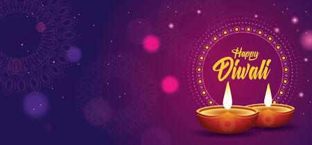 Happy Diwali Indian Celebration Design with candles vector illustration