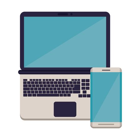 smartphone with laptop electronic devices vector illustration design