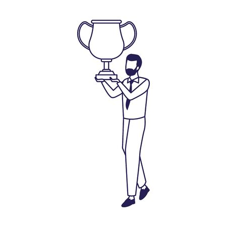 avatar businessman holding a trophy icon over white background, vector illustration 向量圖像