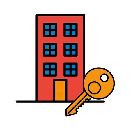 building front facade with key door vector illustration design