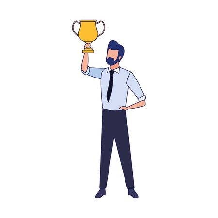 avatar businessman holding a trophy cup over white background, vector illustration