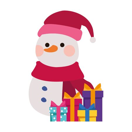 cute snowman with gift boxes over white background, vector illustration Illustration
