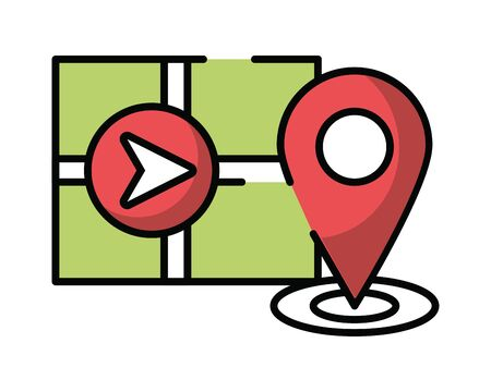 paper map guide with pins location icon vector illustration design
