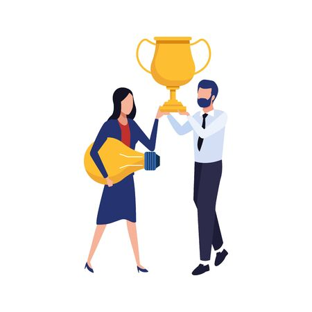 avatar business man holding a trophy and woman holding a light bulb over white background, vector illustration